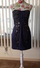 French Connection Beaded Navy Dress 8 NWT 288.00