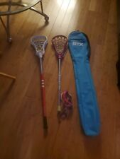 New listing STX lilly pink 35 Girls Lacrosse Stick Addis  40 in and bag plus Goggles used