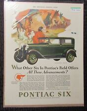 "1928 PONTIAC SIX 2-Door Sedan 11x14"" Automobile Color Print Ad FN 6.0"