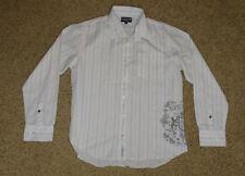 Ezekiel Men's Premium Garments Casual White Striped Button Shirt Long Sleeve L