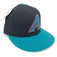 Vintage Arizona Diamondbacks New Era 5950 Fitted Hat Giant A Logo Teal Black