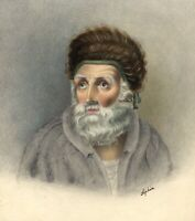 Bearded Man with Woven Hat Portrait – early 19th-century watercolour painting