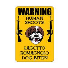 Lagotto Romagnolo Dog Human Shoots Fun Novelty Metal Sign