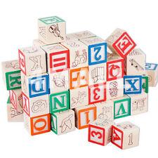 30 PCS Kids Educational ABC 123 Wooden Alphabet Numbers Letters Blocks Toy