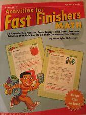TEACHERS: Activities for Fast Finishers - MATH- (Grades 4-8)