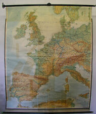 School Wall Map Wall Map West EUROPE UK France Spain Map 1958 1,5m 157x193cm