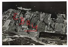 WWII ACTION 8X10  AERIAL PHOTOGRAPH  OVER JAPANESE KURE NAVAL YARD DRY DOCKS WOW