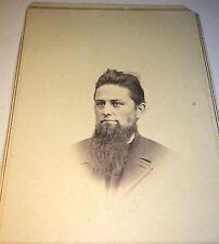 Antique Civil War American Man, Big Beard! Short Modern Hair! New York Cdv Photo