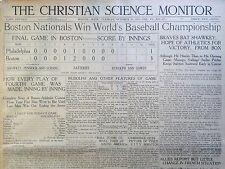 Baseball World Series 1914 Oct  9 10 12 13 Boston Nationals V Philadelphia B5
