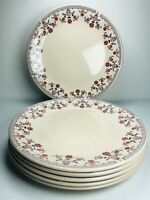 Johnson Brothers Danube Dinner Plates SET 6 ENGLAND Ironstone Red Flower 9 7/8