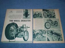 "1961 Triumph Powered Drag Bike Vintage Article ""Two Wheel Dragster"""