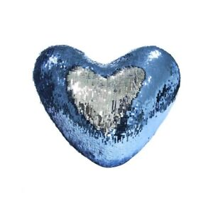 "BLUE & SILVER Mermaid Reversible Sequins Heart PILLOWCASE 15.75"" x 13.75""  NEW"