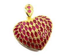 24K Gold Gp 54 Stone Nice! Gt12 Stunning Ruby Color Cz Thai Heart Pendant 22K