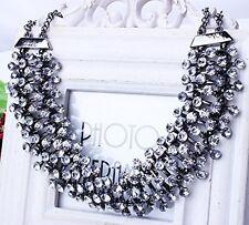 Women's Crystal Rhinestone Chunky Pendant Choker Bib Statement Chain Necklace