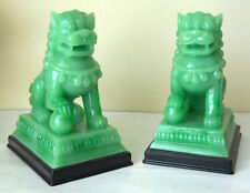PAIR FOO DOG CHINESE LION GET LUCKY GUARDIAN FAUX JADE JADEITE FIGURIN FENG SHUI