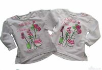 Baby Girls Long Sleeve* Top Blouse* WHITE or GREY High Quality COTTON! 3-6/9-12m