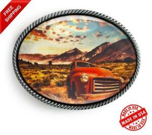 Vintage Truck Belt Buckle - Classic American Silver Handmade Buckle - 627