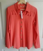 NWT Soft Surroundings Womens Coral Button Down Peekaboo Shirt Top Blouse Size XS