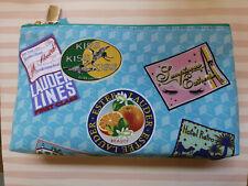 Estee Lauder Travel Label Print Turquoise Patterned Make Up Bag NEW