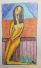 Original European abstract cubist drawing nude portrait signed