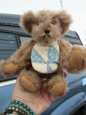 """Vintage 8"""" Brown Artist Teddy Bear Heart Tag Bib Sayuru Saki Romerhaus 1986 Ooak"""