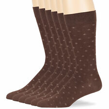 Men's Cotton 6 Pack Dotted Patterned Dress Business Soft Socks Large 10-13 Brown