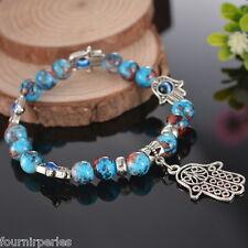 FP Mode Bracelet Perles Bleu Main de Fatma Fantaisie Cadeau Femme Fille 19cm