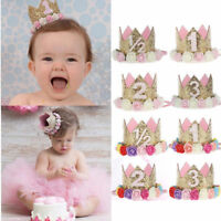 Flower Crown Baby Girl Newborn Infant Toddler Headband Gold Birthday Crown Party