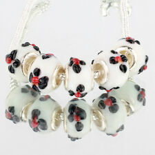 Black flower 5pcs MURANO glass bead LAMPWORK fit European Charm Bracelet