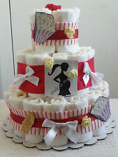 3 Tier Diaper Cake Red White Ready to Pop Baby Shower Gift Centerpiece Boy Girl