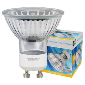 10 LONG LIFE GU10 50w Halogen Light Bulbs Free Delivery