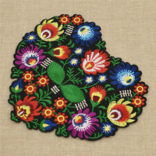 Embroidered Flower Heart Shape Patch Iron On DIY Sewing Clothes Bag Crafts New