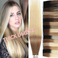 8A Ombre THICK Russian Tape In Real Remy Human Hair Extensions 200g Skin Weft US