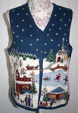 Marisa CHristina holiday Christmas sweater vest scene sz. M NWOT New