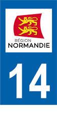 Département 14 MOTO 1 autocollant style plaque moto 3 x 6 cm REGION NORMANDIE