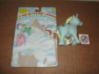 My Little Pony Sunbeam Unicorn G1 blue silky hair 1983 w/sticker