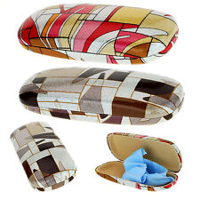 SA106 Art Deco Geometric Print Clam Shell Hard Eyewear Case