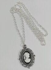 "Gothic Victorian Lady Retrato Negro Blanco Cameo encanto colgante Largo 30 ""Collar"
