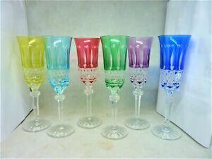 6 FLÛTES A CHAMPAGNE CRISTAL LORRAINE SAINT LOUIS MODÈLE TOMMY CRYSTAL GLASSES