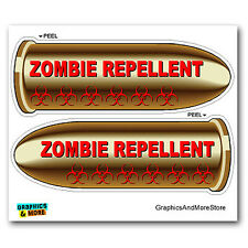 Zombie Repellent Bullets Red - Hunting - Set of 2 - Window Bumper Stickers