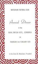 WATSONIAN FC ANNUAL DINNER 2 Feb 1978 RUGBY MENU CARD