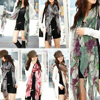 Outwear Sexy Women Soft Begonia Voile Ink Flower Stole Cotton Shawl Scarf Wrap
