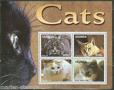 UGANDA 2014 CATS BOBCAT, TURKISH VA, CARACAL CAT & GRAY TABBY CAT SHEET MINT NH