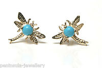 9ct Gold Turquoise Dragonfly Stud earrings Made in UK Gift Boxed Xmas Christmas
