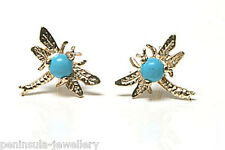 9ct Gold Turquoise Dragonfly Stud earrings Made in UK Gift Boxed