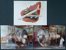 LOT 3 PHOTOS MOTEUR / REACTEUR & DESSIN BOEING 707-500 - AVIATION 60'S VINTAGE