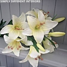 Beautiful Bunch of Artificial Cream Tiger Lilies, Quality Faux Silk Lily Flowers