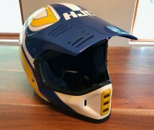 Vintage HJC Motocross Helmet - FGX Blue white and yellow - size XL