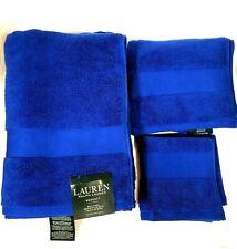 RALPH LAUREN 3 PC WESCOTT ROYAL ADMIRE BLUE COTTON BATH,HAND TOWEL,& WASH CLOTH