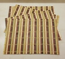 SET OF 4 MULTI COLOR BAMBOO PLACEMATS 17½x12 ROLLABLE Reversible STORABLE